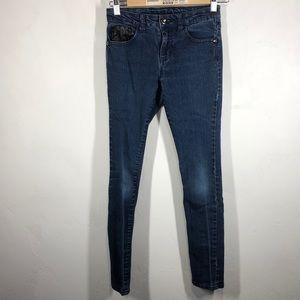 Guess jeans with black faux leather details sz 12